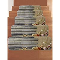 WCHUANG Gray Wood Stair Treads Non-slip Carpet, Beach Starfish Conch Print Rectangle Stair Rugs Pads, Indoor Outdoor Rubber Mats for Staircase, Set of 5