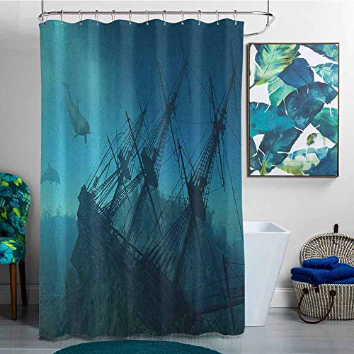 Polyester Shower Curtain Nautical Dolphins Ruined Wreckage Underwater Sunken Ship Mystery Treasure Shower Curtains in Bathroom Slate Blue Pale Blue TealW55x72L