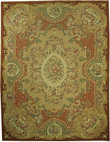 Gold Hand-Woven 8x10 Aubusson Design Dense Petit Point Rug ()