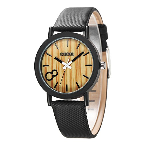 CUCOL Eco Wooden Grain Dial Watches for Men and Women Leather Band (Stylish Black Wooden Box)