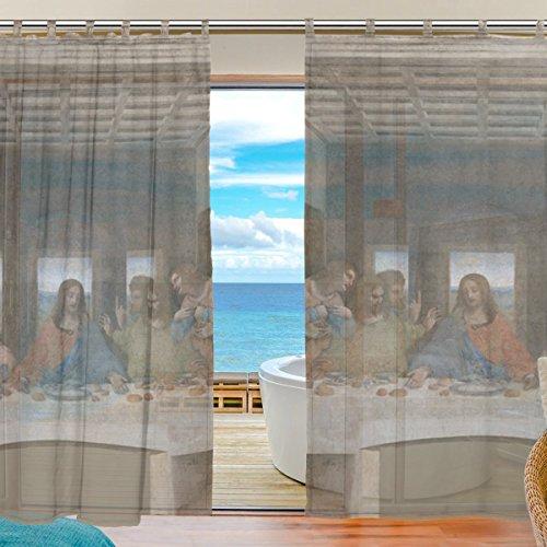 INGBAGS Bedroom Decor Living Room Decorations Da Vinci Last Supper Pattern Print Tulle Polyester Door Window Gauze / Sheer Curtain Drape Two Panels Set 55x78 inch ,Set of 2