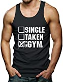 Single Taken At The Gym Men's Tank Top T-shirt (Medium, BLACK)