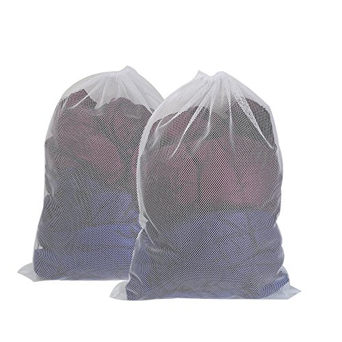 Vivifying Large Washing Net Bags, Set of 2 Durable Coarse Mesh Laundry Bag with Lockable Drawstring for Big Clothes, Duvet Cover (Coarse Mesh Bag)