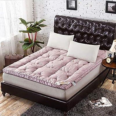 Thick Floor Mat, Foldable 5cm Wool Mattress Topper Warm Breathable Soft Winter Single Double Tatami Mattress