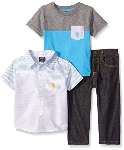 U.S. Polo Assn. Baby Boys'' Cut and Sew Striped Sport Shirt, Pocket T-Shirt and Denim Jean