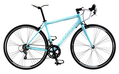 Schwinn Phocus 1600 Drop Bar Road Bicycle for Women, Featuring 41cm/Small Aluminum Step-Through Frame and Carbon Fiber Fork with Shimano 16-Speed Drivetrain and 700c Wheels, Light Blue
