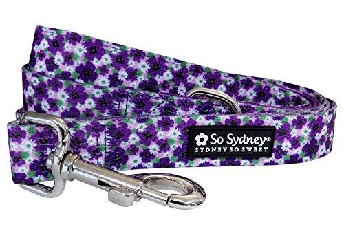 So Sydney Pet Vintage Floral Flower Collection Adjustable Dog Collar or 5' Leash (L Leash, Pansy (Floral Leash)
