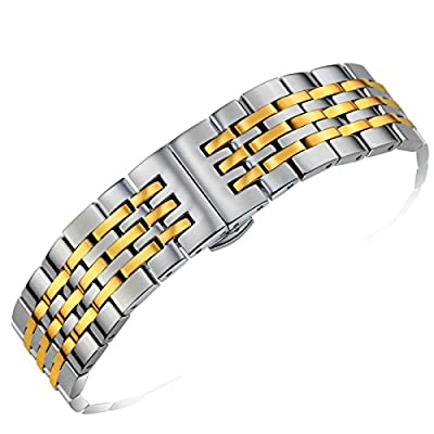 Adjustable Metal Watch Band 20mm Quality Stainless Steel Solid Links in Two Tone Silver and Gold Curved or Straight Ends