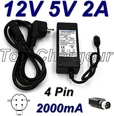 Top Cargador® Adaptador alimentación Cargador 12 V 5 V 2 A 4 Pin para Disco Duro Multimedia Woxter i-Cube X-DIV 35 XP Pro Incluye Cable Sector