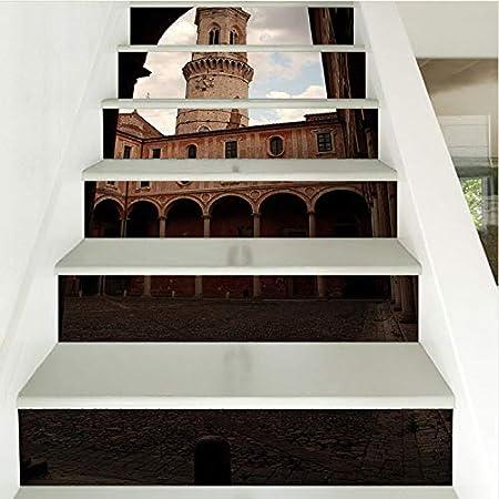 Patrón de construcción Azulejo de Pared 3D Pegatinas Escaleras Pvc Cerámica Etiqueta de La Pared Extraíble Impermeable Mural Poster Para Calcomanías de la Habitación de la Escalera 18*100cm 1set 6pcs: Amazon.es: Hogar