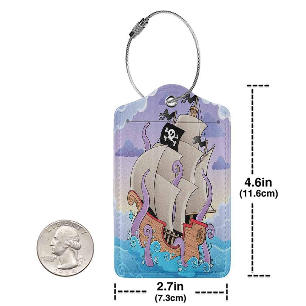 Small luggage tag Pirate Ship Decor Cartoon Boat Octopus Kraken Sailor Flag Fun for Kids Teens Baby and Nursery Quickly find the suitcase Purple Khaki Blue W2.7 x L4.6