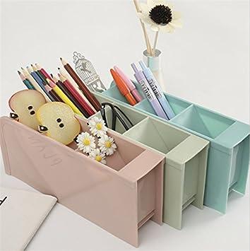 Demarkt Desktop Aufbewahrungsbox Schreibtisch Organizer Aufbewahrungsbox Stifthalter Blau 8 x 9 x 20cm