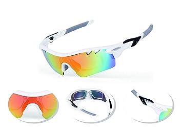 JOGVELO Gafas Ciclismo Polarizadas, Gafas Ciclismo con 5 Lentes Intercambiables TR-90 Anti UV400, Blanco: Amazon.es: Deportes y aire libre