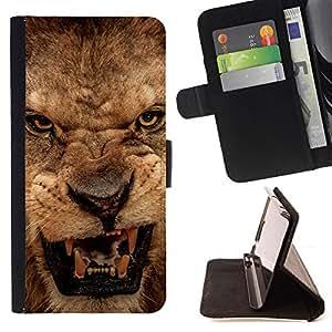 - EYES TEETH ROAR PORTRAIT CLOSE ANGRY LION - - Prima caja de la PU billetera de cuero con ranuras para tarjetas, efectivo desmontable correa para l Funny HouseFOR Samsung Galaxy S5 Mini, SM-G800