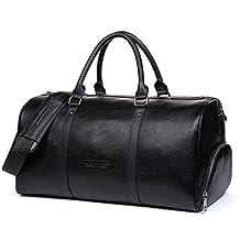 BOSTANTEN Genuine Leather Travel Weekender Overnight Duffel Bag Gym Sports Luggage Bags For Men Medium Black