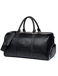BOSTANTEN Genuine Leather Travel Weekender Overnight Duffel Bag Gym Sports Luggage Bags For Men Black