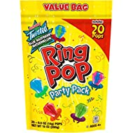 Ring Pop Individually Wrapped Bulk Lollipop Variety Halloween Party Pack – 20 Count Lollipop Suckers w/ Assorted Flavors - Fun Candy for Halloween Parties and Trick or Treating Bags
