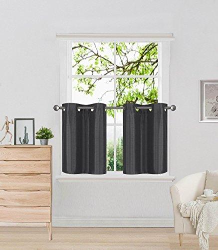 Elegant Home 2 Panels Tiers Grommets Curtain Faux Silk Semi Sheer Small Window Treatment Curtain Drape Short Panel 28