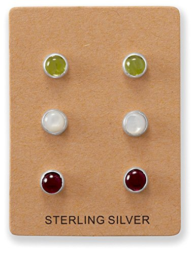 Set of 3 Button Post Stud Earrings: Peridot, Mother of Pearl, Garnet