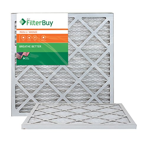 AFB Bronze MERV 6 20x21.5x1 Pleated AC Furnace Air Filter. Pack of 2 Filters. 100% produced in the USA. by FilterBuy