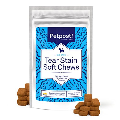 Petpost | Tear Stain Remover Chicken Flavored Soft Chews - Delicious Chicken Treat & Eye Stain Supplement for Dogs - Natural Treatment for Tear Stains on White Fur Angels (90 Daily Chews) (90ct) - Safety Stain Remover