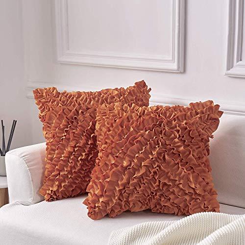 Decorative Throw Pillow Covers (Set of 2) - Pillow Cover Sham Cover - Dark Orange Throw Pillow cover - Decorative Sofa Throw Pillow Cover - Square Decorative Pillowcase - Burnt Orange - 20