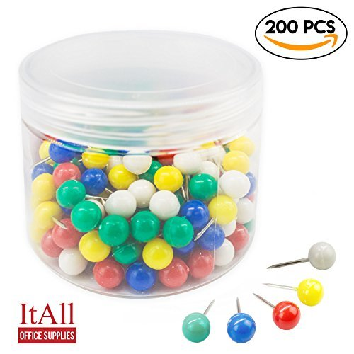 ItAll 200 Pcs 2/3Inch Multi-colored Maps Push Pins Clips with Plastic Head, Steel Point Decorative for Cork Board Wall Travel World (Map Hook Clip)