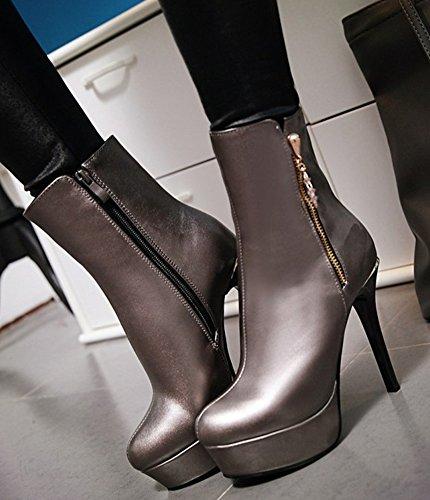 Round Shoes Dress Booties Zipper Womens Sexy Stiletto Silver Heels Aisun Toe High Side Platform 7RqSn0v