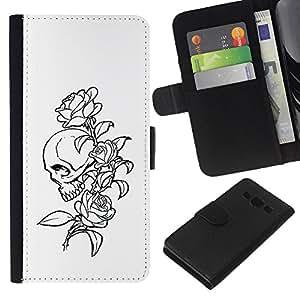 NEECELL GIFT forCITY // Billetera de cuero Caso Cubierta de protección Carcasa / Leather Wallet Case for Samsung Galaxy A3 // Floral del cráneo de Rose B & W