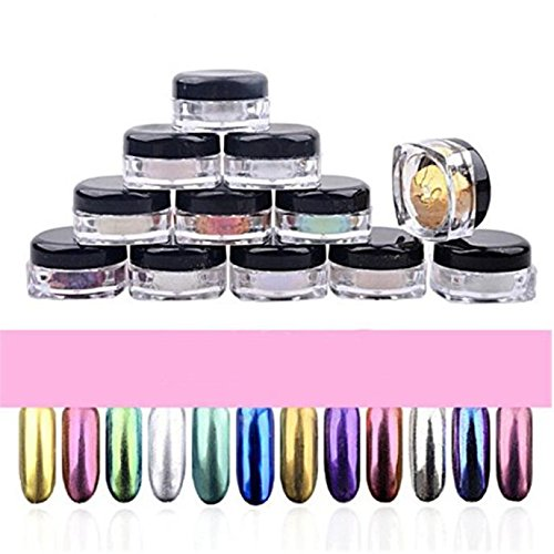 Matoen(TM) 12 Colors Nail Glitter Powder Shinning Nail Mirror Powder Makeup Art DIY Chrome Pigment With Sponge Stick (Wish Cell Phone Charm)