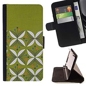 For HTC One M7 Case , Diseño floral minimalista Musgo- la tarjeta de Crédito Slots PU Funda de cuero Monedero caso cubierta de piel