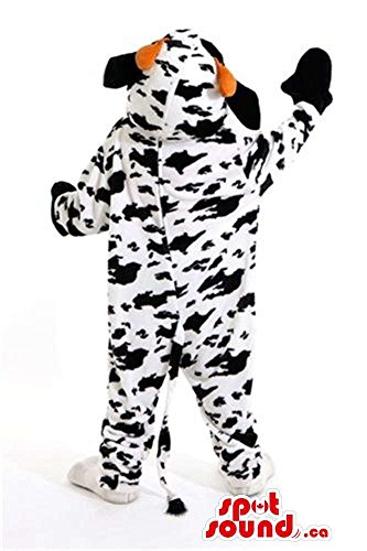 Cool Cow Plush Mascot SpotSound US With Many Black Spots And Red Tongue (Plush Cow Mascot Costume)