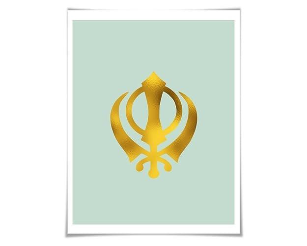 Amazon Khanda Gold Foil Art Print 36 Colours3 Sizeskh Wall