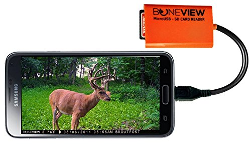 BoneView Trail Camera Viewer for Android Phones, SD Card Reader Views Photos and Videos from any Wildlife Scouting Game Cam on Droid Smartphone, Micro USB Memory Card Reader for Deer Hunting