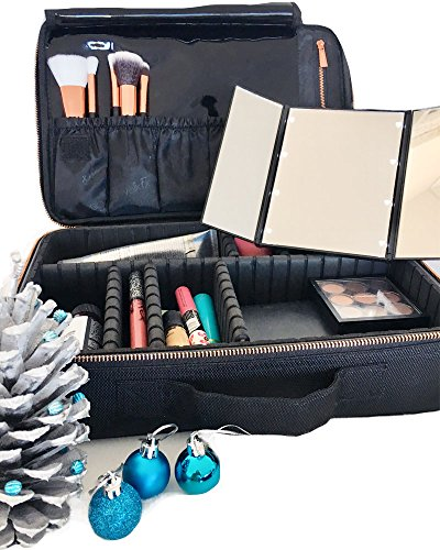 CatwalkFX Professional Makeup Train Case, Travel Organiser with EVA Adjustable Dividers, Cosmetic Makeup Bags for Women - Black with Exclusive Removable LED Light Up Travel Mirror with Stand - (Makeup Travel Case Cosmetic Train)