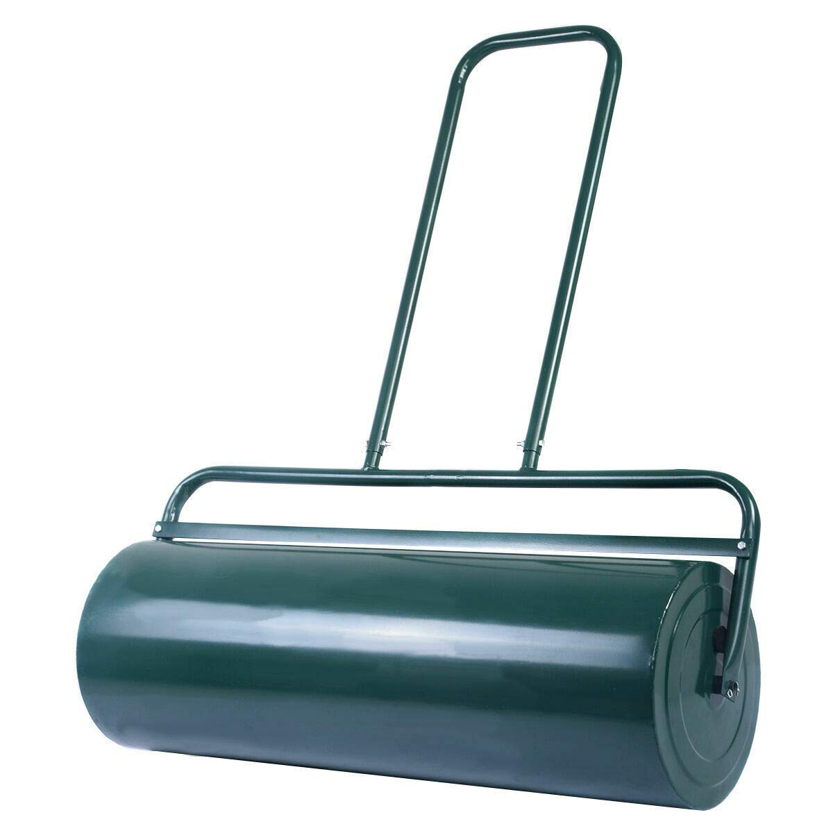 FDInspiration Green Galvanized Steel 36'' x 12'' Water Sand Filled Poly Push Tow Lawn Roller with Ebook