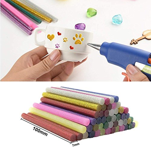 130pcs Colorful Hot Melt Glue Stick, WeiMo Small Glue Gun Used Long Shape Hot Melt Glue Stick for Art Craft DIY Home Decoration Sealing and Gluing (130) by WeiMo (Image #4)