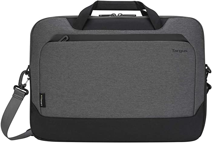 Targus Cypress Briefcase with EcoSmart for Business Traveler and School with 2-Compartments, Padded Shoulder Strap, Protective Slipcase Sleeve fits 15.6-Inch Laptop, Light Gray (TBT92602GL)