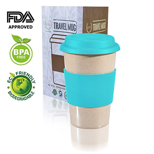 14oz 100% Organic EcoFriendly Reusable Travel Mug, To Go Takeaway Coffee Cup BLUE, Biodegradable Material FDA Approved BPA Free, Leak Proof Silicone Lid & Heat Resistant Grip.Free Recipe ebook
