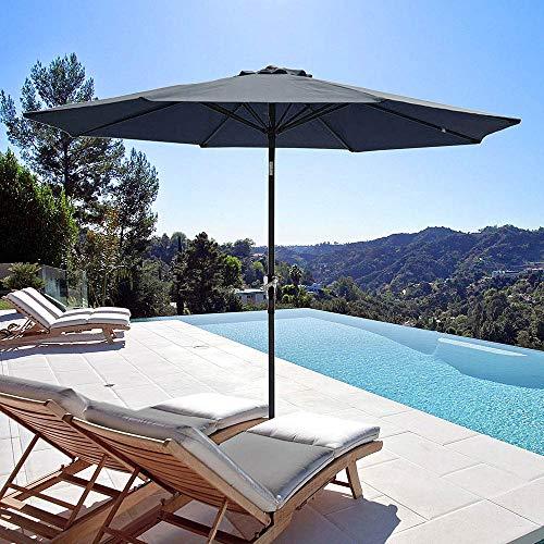 - Yeshom 9ft Aluminum Outdoor Garden Patio Umbrella with Crank Tilt Table Umbrella Deck Market Yard Beach Pool