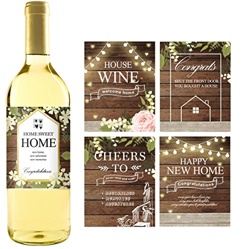 Estate Wine - 5 Rustic House Warming Presents, New Homeowner Stickers or Wine Label Gift Set Ideas, Congrats Home Sweet Home Party, Unique Real Estate Gifts From Agent For Client Congratulations