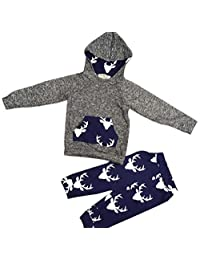 Flank 1Set Toddler Kids Baby Boy Girl Clothes Deer Hooded Tops Jacket +Pants Outfits (100)
