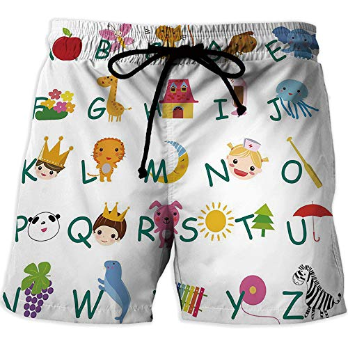 Quick Dry Beach Shorts with Pockets Mesh Lining Swim Short,EducationalWorkout Gym Running Tight Lifting ShortsCute Kids Alphabet with Fruits Animals Prince Princess Cheerful Colorful Design -