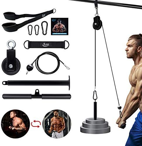 KMM Pulley System Gym, Fitness LAT Pull Down Machine Cable Machine Attachment with Upgraded Loading Pin, Straight Bar, Cable Pulley Home Gym Equipment for Triceps Pull Down, Lift Up, Biceps Curl