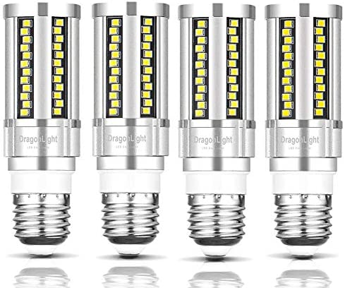 DragonLight 15W Super Bright LED Corn Light Bulbs Fanless(150 Watt Equivalent) – 6000K Daylight 1,800 Lumens E26 Base for Residential and Commercial Lighting – Garage Porch Office, Pack of 4
