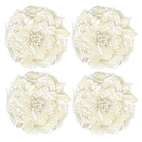 4pcs Handmade Burlap Flowers Rustic Lace Rose for DIY Craft Wedding Decoration(item2)