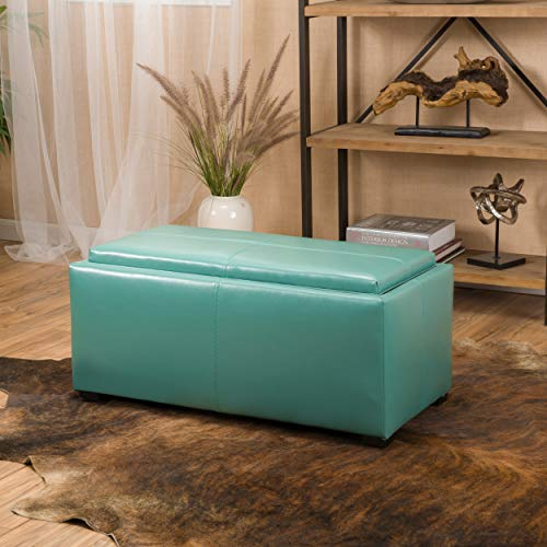 August Teal 3-Piece Leather Tray Top Nested Storage Ottoman Bench ()