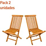 Pack 2 sillas jardín teca plegable - Portes Gratis