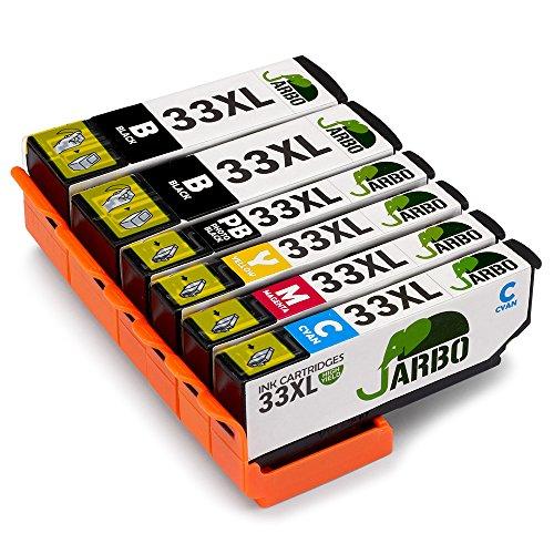 JARBO Compatibles Epson 33 XL Cartouche d'encre Grande capacité Compatible avec Epson Expression Premium XP-530 XP-540 XP-630 XP-635 XP-640 XP-645 XP-830 XP-900 (2 Noir,1 Photo Noir,1 Cyan,1 Magenta,1 Jaune)
