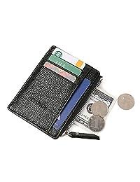 Badiya Thin Credit Card Holder for Women Slim Front Pocket Wallets Compact Zipper Purse